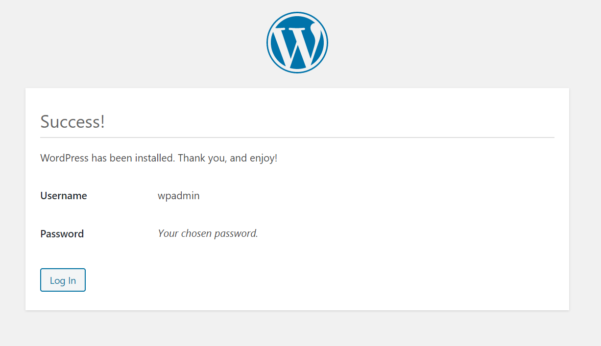This is confirmation page of WordPress installation.