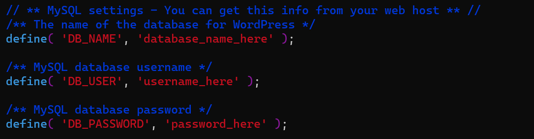 This picture is about wp-configurations old file. You have to change the database name, username, and password.